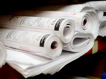 A stack of rolled up papers