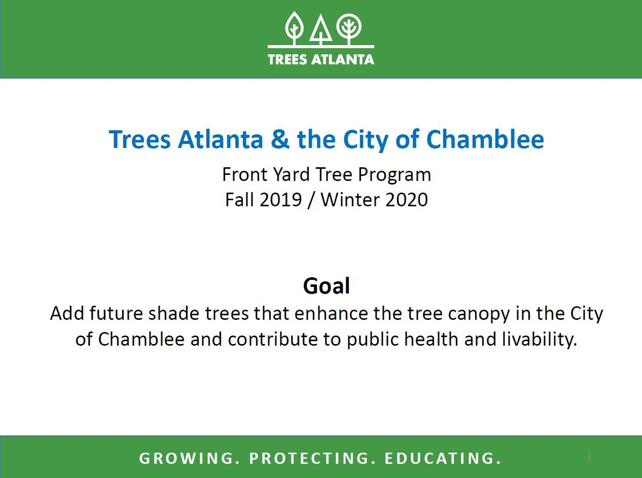 Front Yard Tree Program Presentation 2019 2020